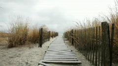 Atlantic city walkway to beach Stock Footage