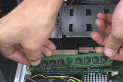 Stock Video Footage of IT tech installing computer components