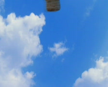 Solutions hot air balloons droping down Stock Footage
