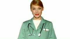20-25 years old beautiful female doctor isolated on white Stock Footage