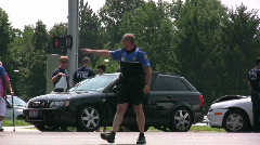 Police Officer Directing Traffic Stock Footage
