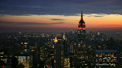 NYC skyline wide angle time lapse at night - stock footage