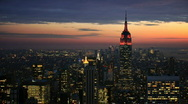 Stock Video Footage of NYC skyline wide angle time lapse at night