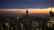 Stock Video Footage of Empire State Building at sunset time lapse