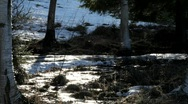 Stock Video Footage of The snow is melting in spring and lively rivulets flow in many places.