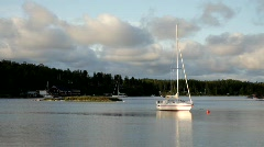 Sailing boats moor in a quiet bay of the Baltic Sea in Sweden. Stock Footage