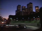 Downtown Los Angeles offices light up as night approaches. Stock Footage