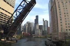 A river runs under a raised drawbridge in Chicago, Illinois. Stock Footage