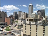 Traffic moves through downtown Indianapolis. Stock Footage