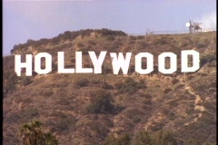 The Hollywood sign adorns the front of the Hollywood Hills. Stock Footage