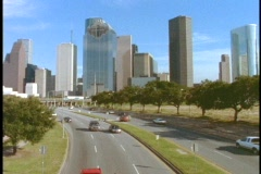 A freeway leads into downtown Houston. Stock Footage