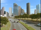 Stock Video Footage of A freeway leads into downtown Houston.