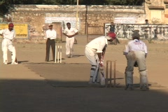 Indian men play a game of cricket. Stock Footage