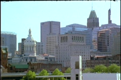 A freeway leads into downtown Baltimore. Stock Footage
