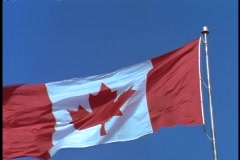 The Canadian flag blows in the breeze. Stock Footage