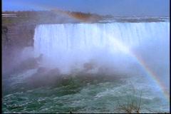 Sunlight and water mists create a rainbow on Niagara Falls. Stock Footage