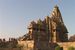 Thousands of pilgrims enter the Khajuraho Temple. Stock Footage