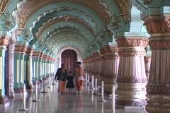 Indians walk through  a Maharaja palace in India. Stock Footage