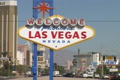 The welcome to Las Vegas sign greets visitors. Stock Footage