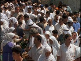 A large Palestinian crowd outside Damascus Gate gathers in the shopping district Stock Footage