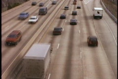 Traffic moves on an eight-lane highway in Philadelphia, Pennsylvania. Stock Footage