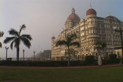 The exterior of the Taj Mahal Hotel in Bombay, India. Stock Footage