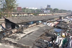 A pan across the dhobi gnats, open air laundries, in Bombay India. - stock footage