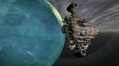 Satellite sputnik orbiting earth in space Stock Footage