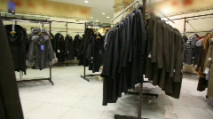 Fur coat shop, panning Stock Footage