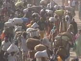 Indians fill the roadways in India leaving little room for cars and vehicles. Stock Footage