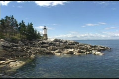 Medium shot of a lighthouse at Acadia National Park. Stock Footage
