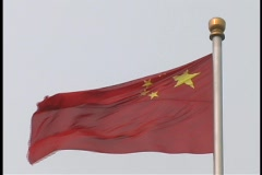 The flag of China flies in a breeze. Stock Footage