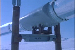 Panning-shot along a section of the Alaskan pipeline. Stock Footage