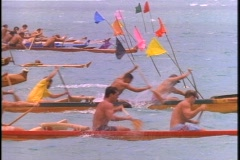 An outrigger canoe race in the South Pacific.. - stock footage