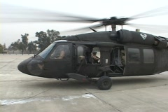 Soldiers use a Black Hawk helicopter for transportation. Stock Footage