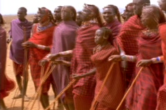 Masai villagers perform a ritual dance in Africa. Stock Footage