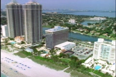 Skyscrapers and high-rise apartments occupy Miami Beach, Florida. Stock Footage