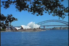 The Sydney Opera House and Bridge are situated on Bennelong Point in Sydney Stock Footage