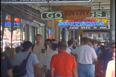 Pedestrians walk the tourist shopping district of Sydney, Australia. Stock Footage