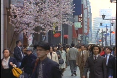 Crowds of pedestrians walk down a sidewalk in the Ginza district of Tokyo, Stock Footage