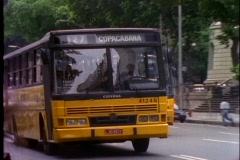 A city bus advertises Copacabana as its destination in Rio De Janeiro, Brazil. Stock Footage