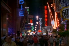 Neon signs light up the night in Buenos Aires, Argentina. Stock Footage