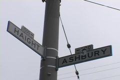 Street signs read Haight and Ashbury in San Francisco. Stock Footage
