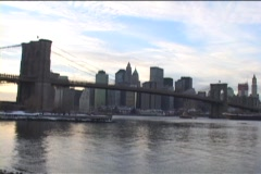 The Brooklyn Bridge overlooks the skyline of New York City. Stock Footage