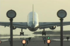 An airplane lands on a landing strip. Stock Footage