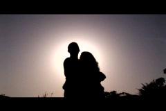 Medium shot of a couple embracing. Stock Footage