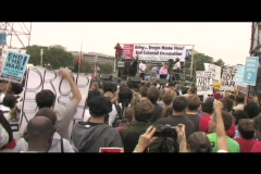 Hand-held-shot of an anti-Iraq-war rally in Washington DC - stock footage