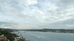 Great panoramic scene over brigde Stock Footage