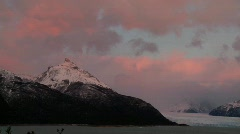 Sunrise over a glacier. Stock Footage