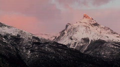 Sunrise over snowy mountains. Stock Footage